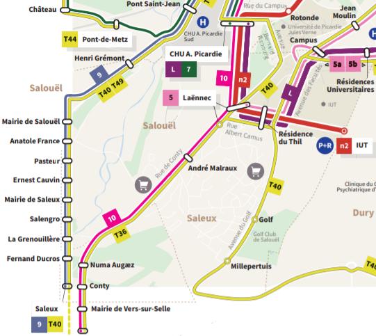Plan de distribution des bus à Salouël